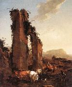 BERCHEM, Nicolaes Peasants with Cattle by a Ruined Aqueduct oil painting picture wholesale